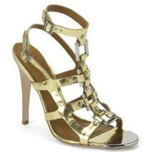 Tory Burch Francesca Gladiator Cage Sandals Gold 6